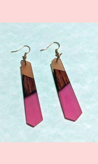 Pink wood resin earrings