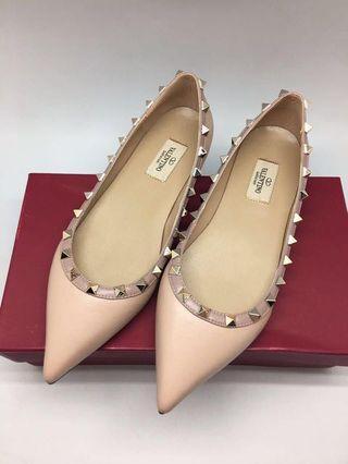 Valentino Flat Shoes rockstud nude