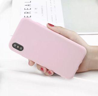 iPhone X Pink Silicon Rubber Smooth Phone Case Cover
