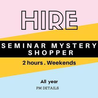 招周末兼職講座神秘顧客 Weekend Part Time Mystery Seminar Shopper