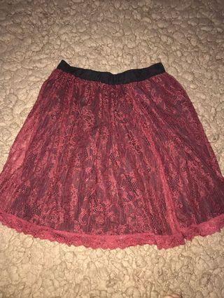 Maroon Skirt / rok bahan brukat merah
