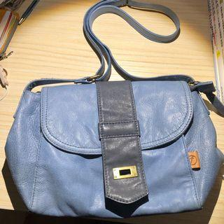 fxlite blue leather sling bag