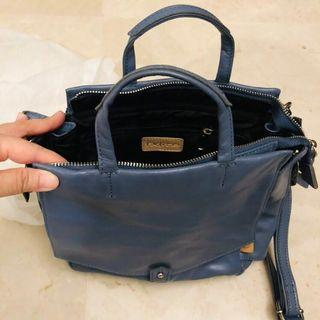 🚚 FXLite dark blue real calf leather handbag
