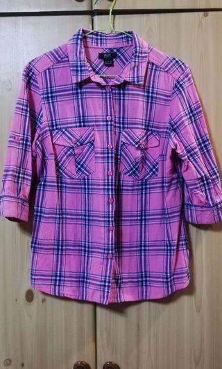 F&F CHECKERED QUARTER SLEEVES TOP