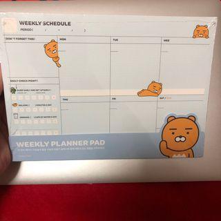 Kakao Friends Ryan Weekly Planner Scheduler Pad