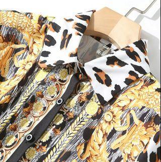 Fashion Designer Runway Tops Women Blouse Long Sleeve Shirt Vintage Print