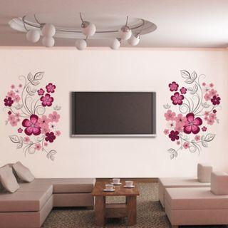 Pink Floral DIY Wall Decor Minimalist Decal Mural Vinyl Wallpaper Home Decor for Living Room Office Bedroom Kitchen Dining Room