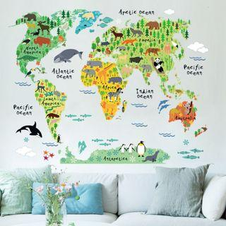 Kids World Map DIY Wall Decor Minimalist Decal Mural Vinyl Wallpaper Home Decor for Living Room Office Bedroom Kitchen Dining Room