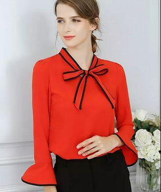 Women Blouse Casual Elegant Flare Sleeve Work Wear