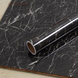 DIY Black Marble Self-Adhesive Wallpaper Contact Paper Wall Decal Sticker Home Decor for Table Furniture Counter top Door Cabinet