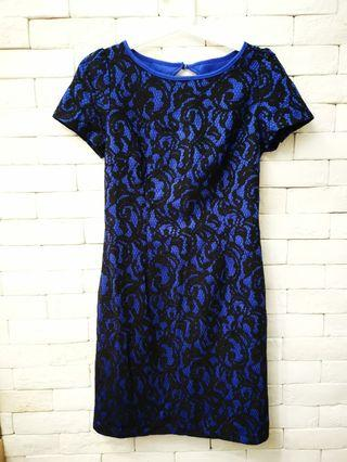 Elegant blue lace dress