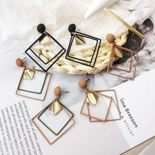 Long Geometric Matte Korean Earrings