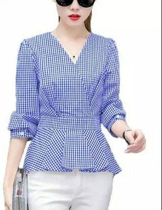 Fashion Women Tops Summer Slim Clothes Office Wear Plaid Shirt Blouse Blue