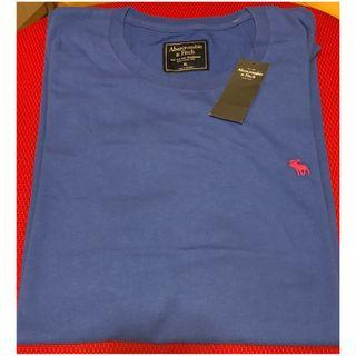 全新A&F藍色紅logo短袖T恤Blue short sleeves T shirt red logo