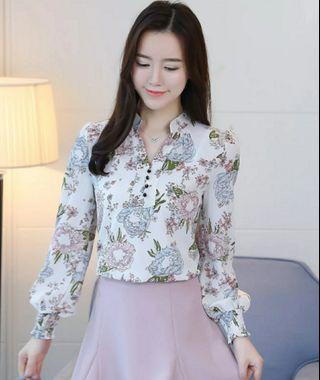 Fashion V Neck Women Blouse Long Sleeve Floral Printing Feminine Tops
