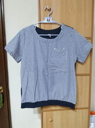 藍直條紋短袖上衣