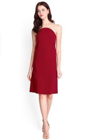 Illusionist Dress In Wine Red