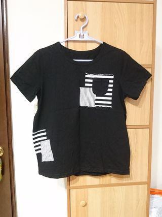黑色布貼短袖