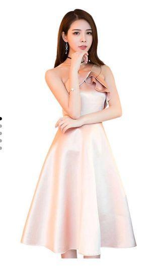 Sunnydaysweety 婚禮宴會緞面粉色洋裝禮服
