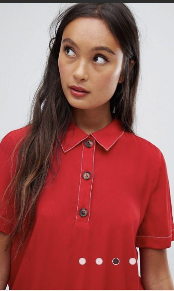 ❤️ Red contrast stitch button top blouse NEW