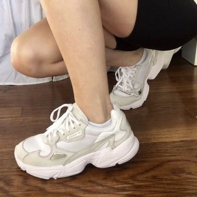adidas triple white falcon shoes, Women