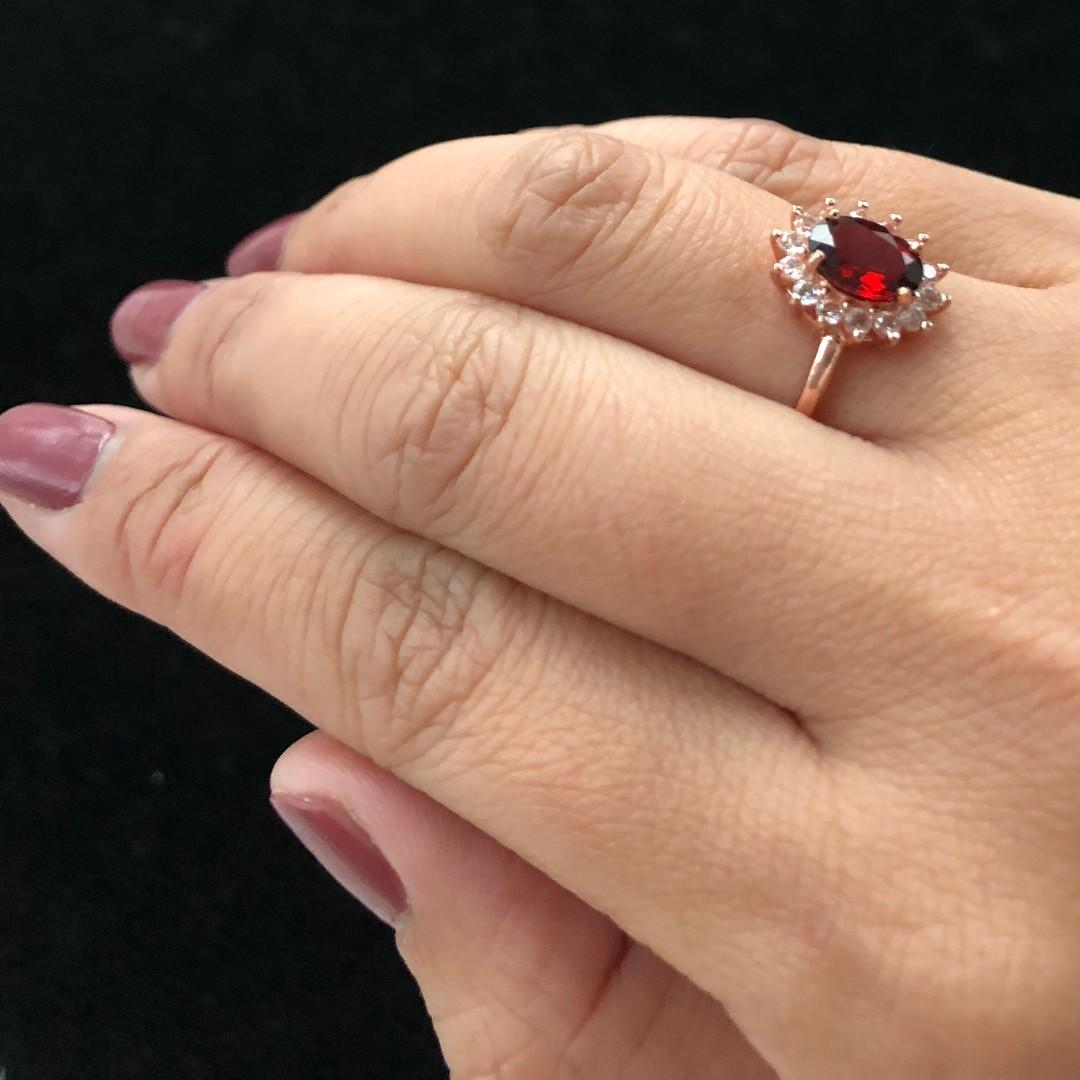 All Natural Blood Red Garnet Ring, January Birthstone, Minimalist Silver Ring For Women, Engagement Cocktail Wedding Ring, Art Deco