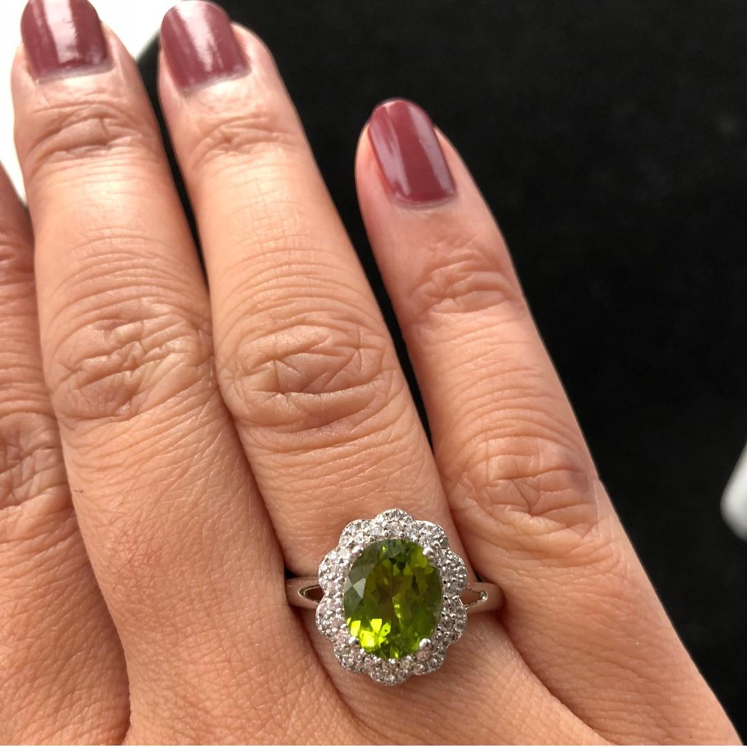 All Natural Green Peridot Ring, August Birthstone, White Gold Plated Sterling Silver Rings, Engagement Statement Wedding Ring, Art Deco