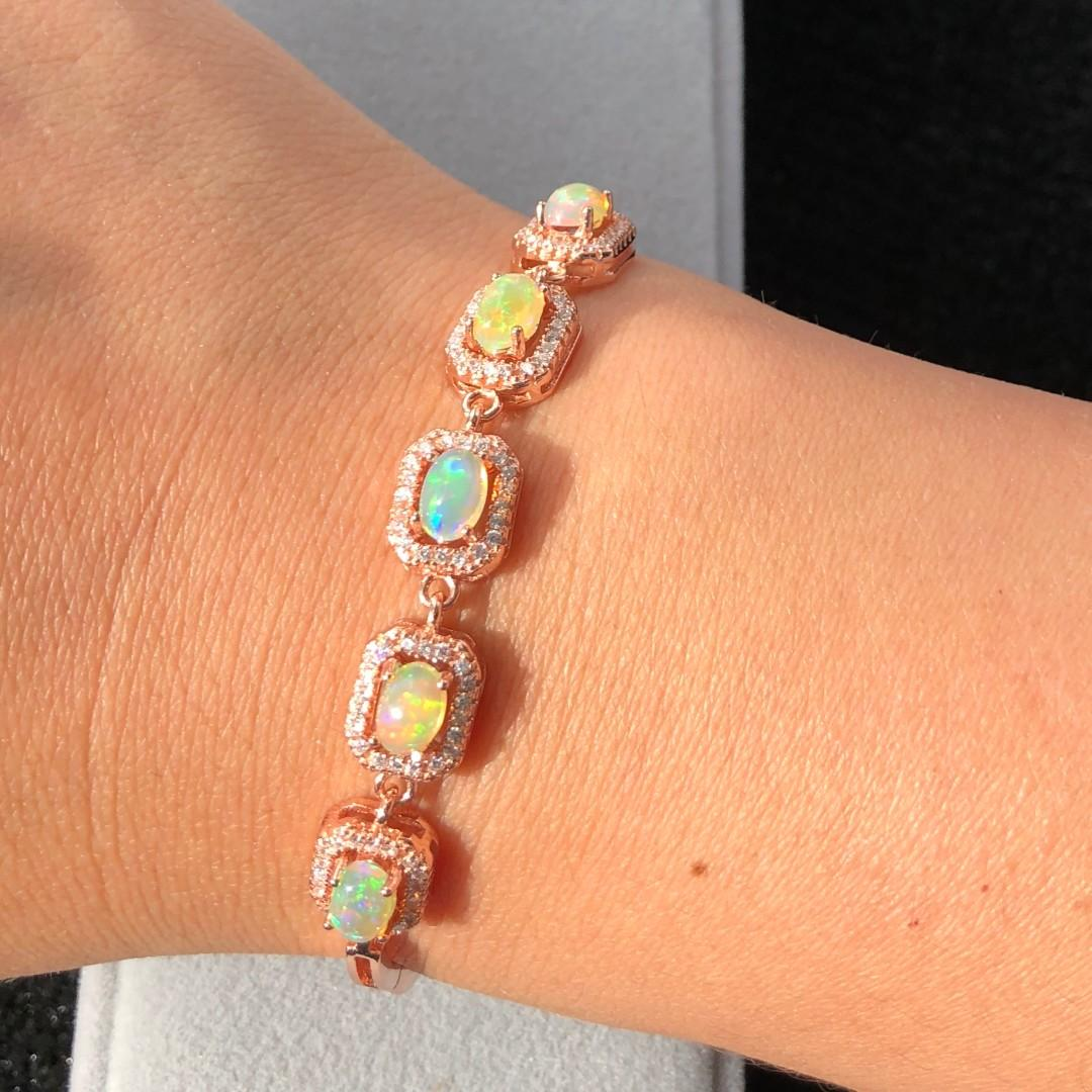 All Natural Opal Bracelet, October Birthstone, Solid Rainbow Fire Opal, Sterling Silver Bracelet for Women, Engagement Wedding Jewelry