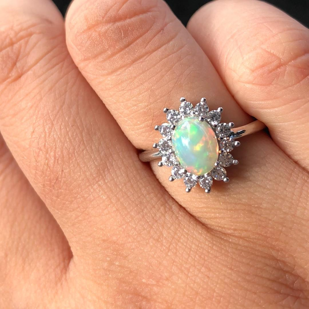 All Natural Opal Ring, October Birthstone Ring, Solid Rainbow Fire Opal, Sterling Silver Rings for Women, Engagement Wedding Ring, Art Deco