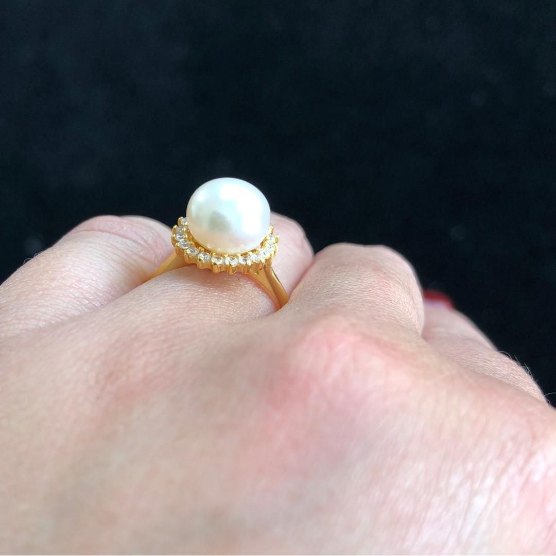 All Natural Pearl Ring, Freshwater Pearl, Sterling Silver Rings For Women, Minimalist Engagement Art Deco Aesthetic Handmade