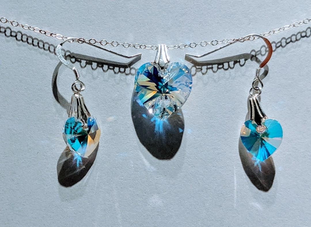 Brand New Swarovski Elements Crystal Pendant & Earrings with Sterling Silver