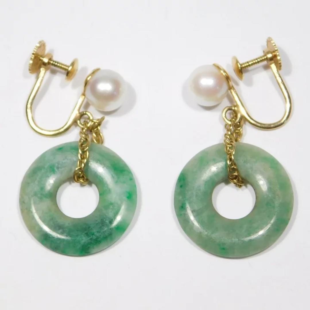 Estate 14k Jade Bi Disc And Cultured Pearl Drop Earrings