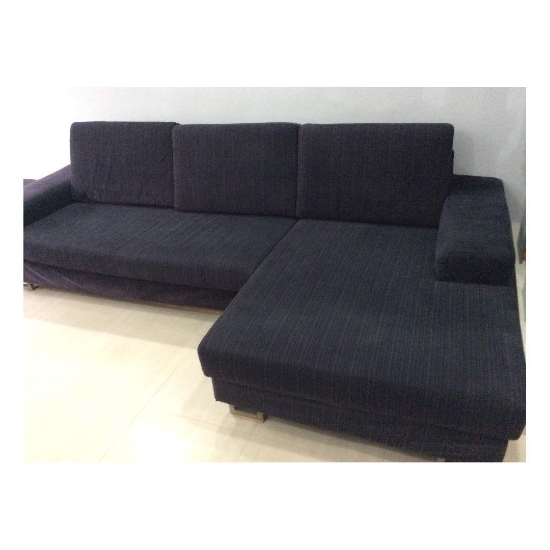 Fabric L-shaped Sofa and Ottoman