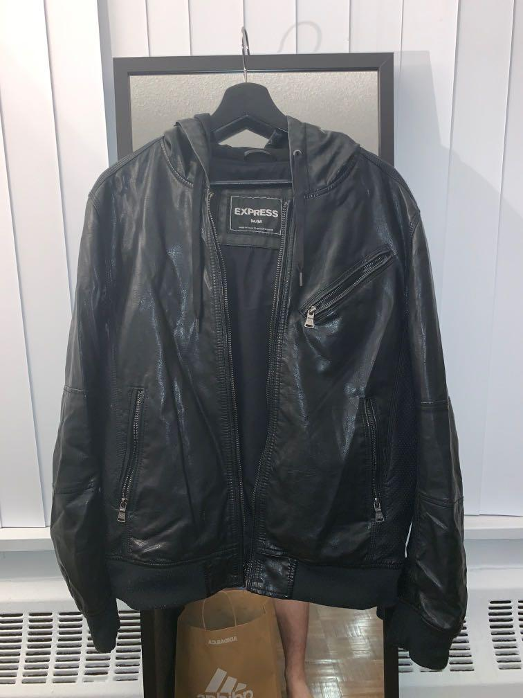 Faux-Leather Jacket/Hoodie from EXPRESS size MEDIUM
