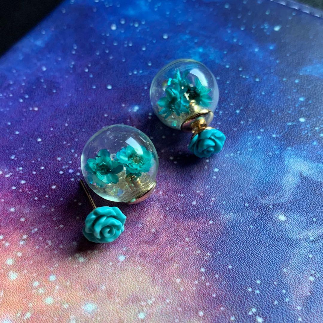 Glass Globe Earrings with Floating Crystals & Real Dried Flowers