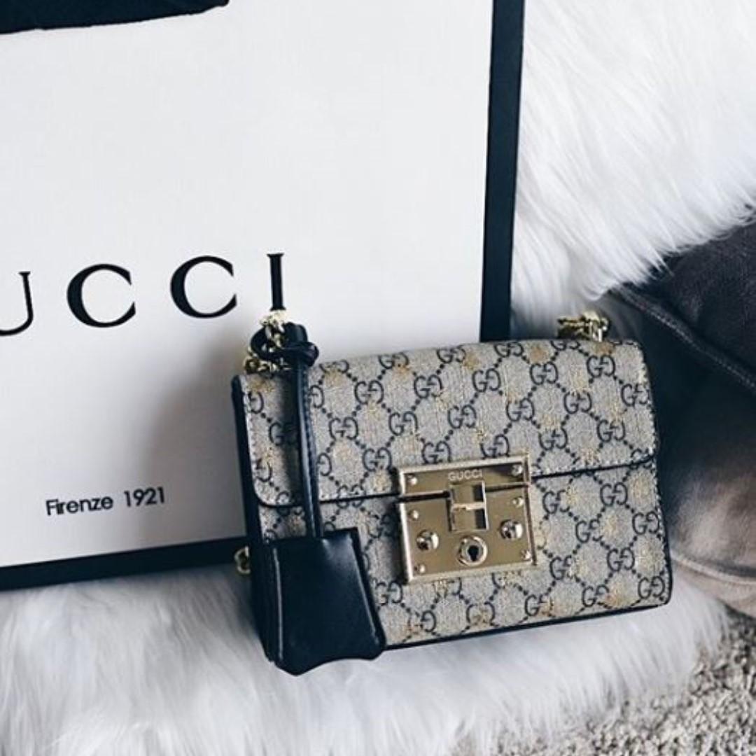 Gucci Padlock Small GG Bees Shoulder Bag Kualitas : Spremium Authentic Mirror 1:1 (persis ori)