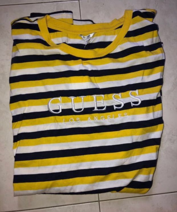 huge discount top brands fast delivery Guess X Urban Outfitters Yellow Stripe Tee