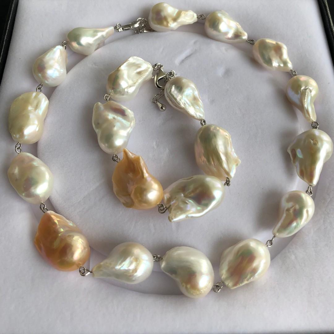 Huge! All Natural Baroque Pearl Necklace Bracelet Set, Freshwater Pearl For Women, Handmade Art DecoTOP Quality