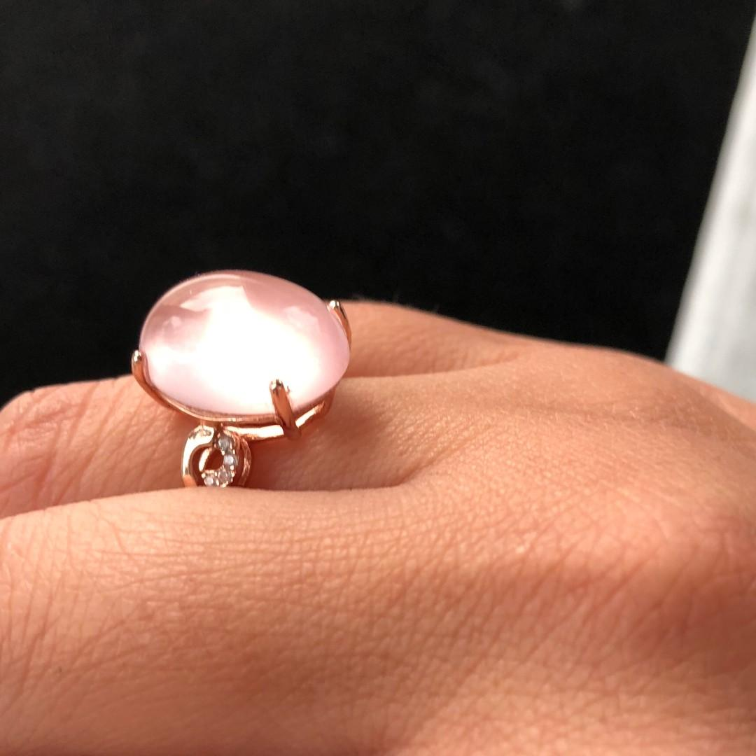 Huge All Natural Rose Quartz Ring, Rose Gold plated Sterling Silver Rings For Women, Engagement Statement Wedding Ring, Handmade Art Deco