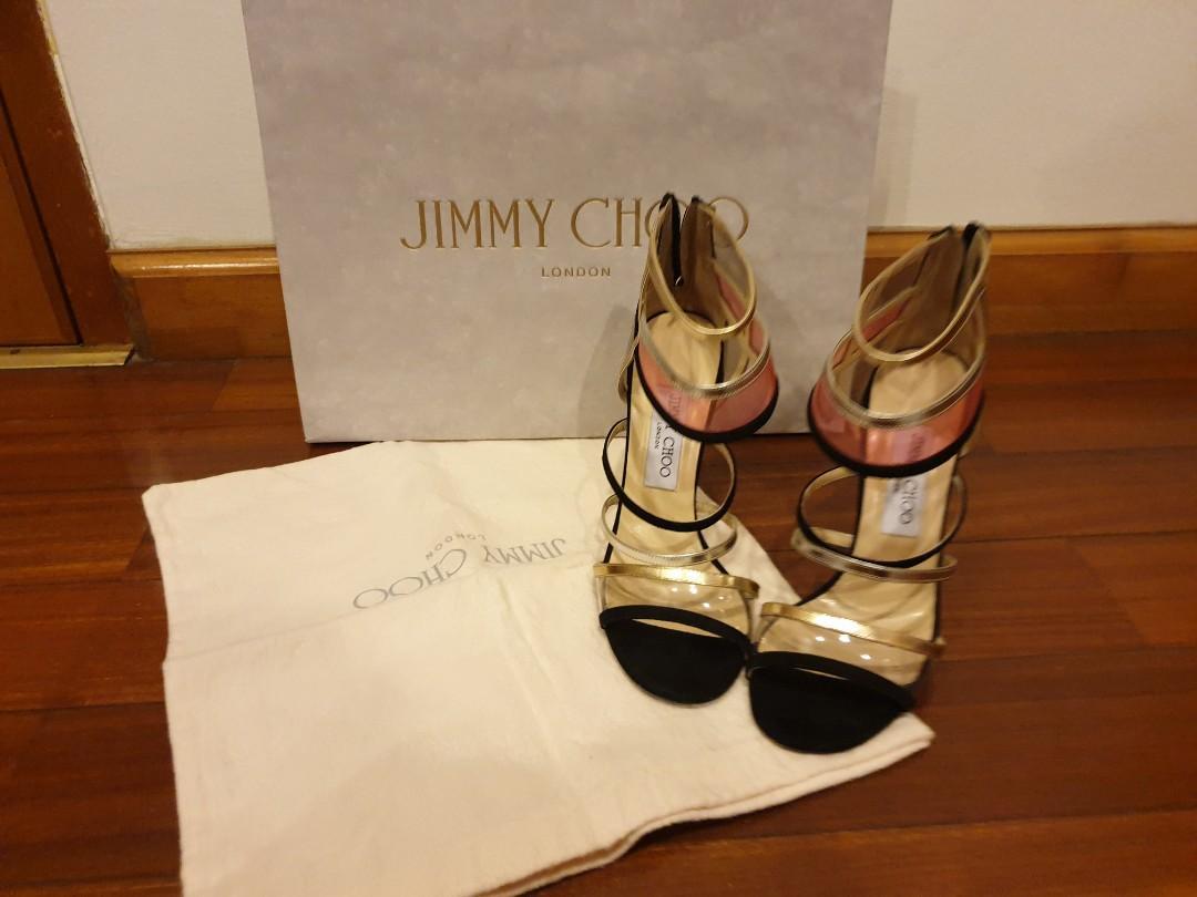 Jimmy Choo Black Gold Silver Heel size 37
