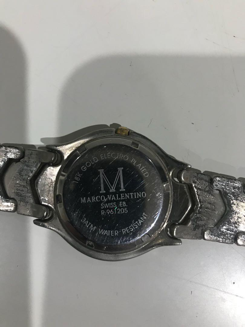 Marco Valentino 18 K gold electro plated Swiss ladies wrist watch