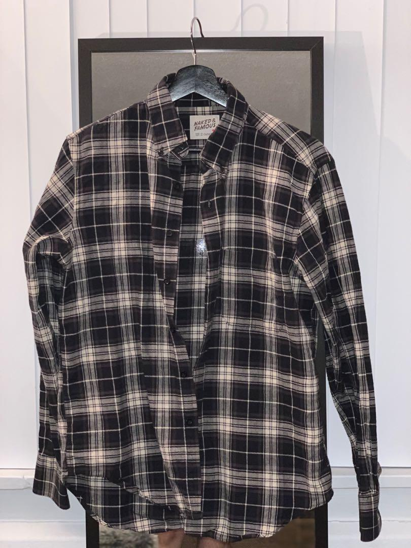 NAKED & FAMOUS Plaid Shirt in Charcoal/Cream size MEDIUM