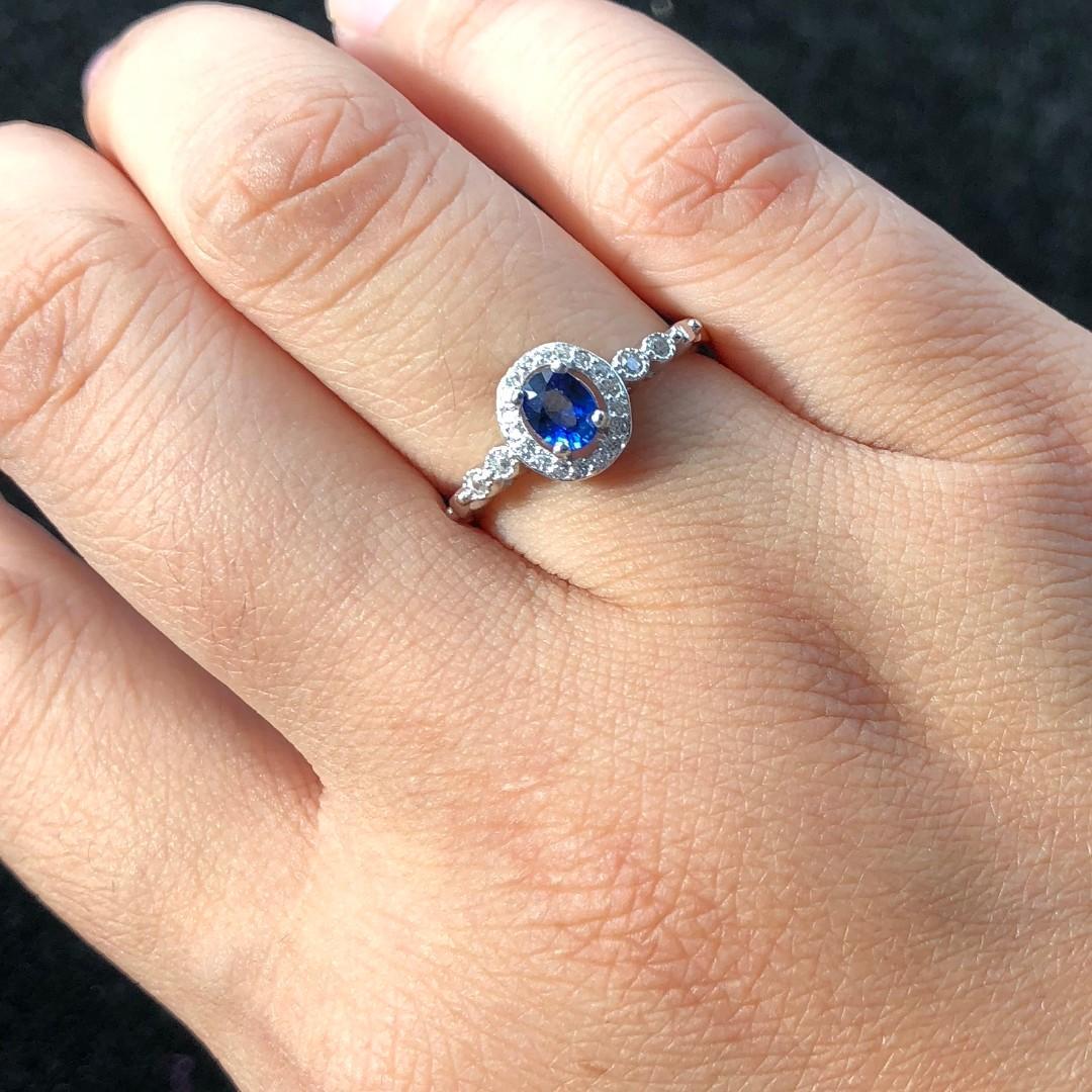 Natural Blue Sapphire Ring, September Birthstone, Sterling Silver Rings For Women, Engagement Cocktail Wedding Ring, Art Deco Aesthetic