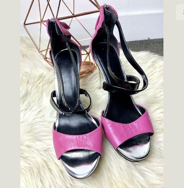 Nine West sz 38.5/US8 pink silver leather shoes heels stripper dance party retro