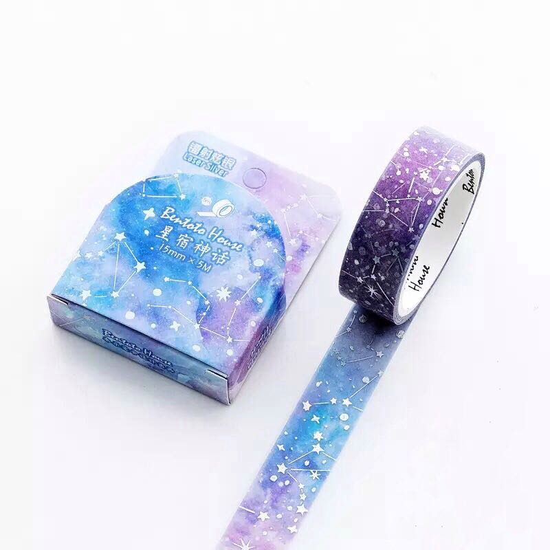 [INSTOCKS] Stars galaxy purple washi tape