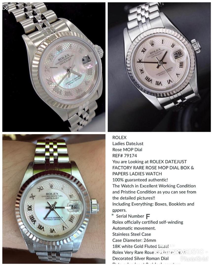 pre Rolex datejust RARE ROSE MOP DIAL ladies 26mm 2004 - box, booklet, spare chain n sertif