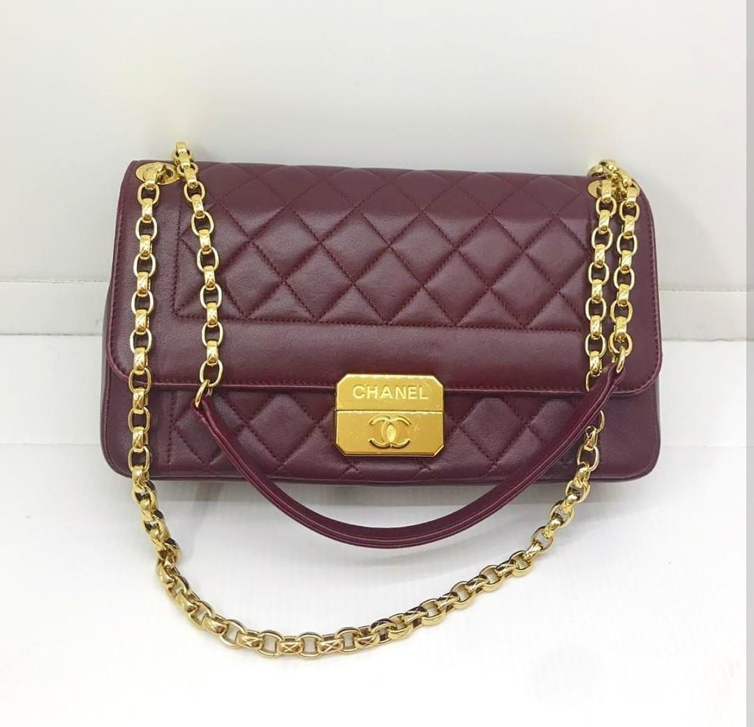 Preloved chanel flap maroon lambskin ghw sz 27x16cm #18 (db,card,holo)
