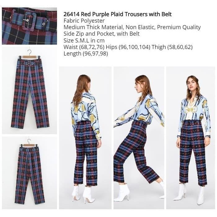 Red Purple Plaid Trousers with Belt (size S,M,L) -26414