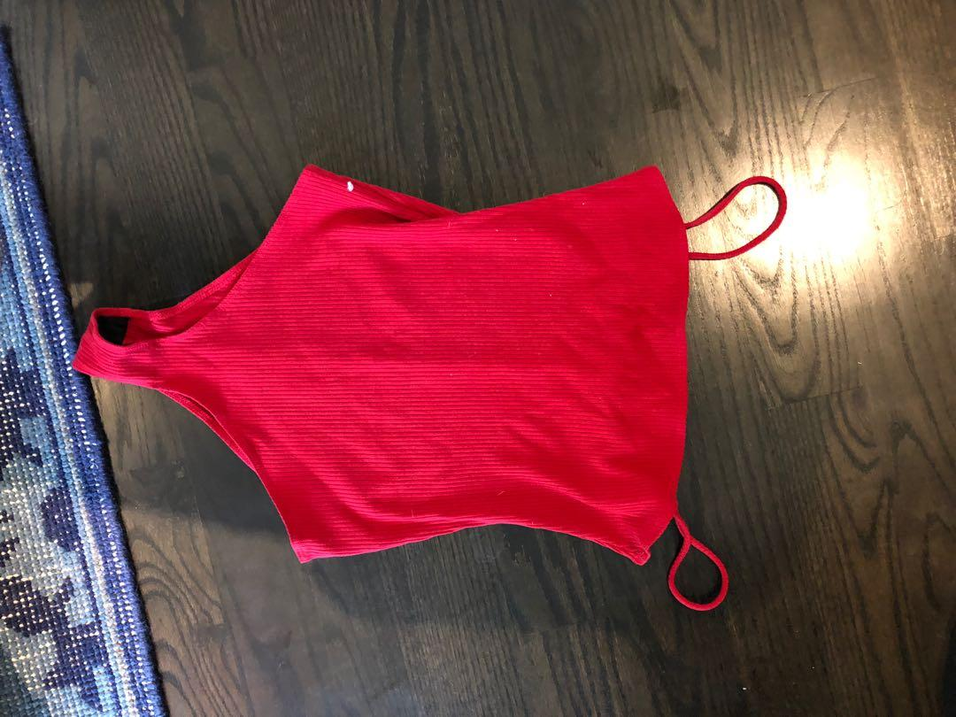 Reformation red ribbed body suit never worn size s