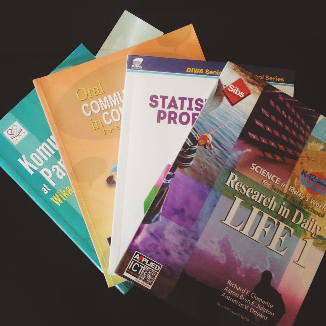 Senior High School books (PR 1, KPWKP, Statistics and Probability, & Oral Communication)